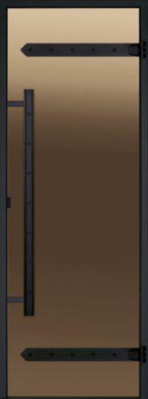 фото HARVIA Дверь стеклянная для сауны LEGEND 8/19 черная коробка сосна, бронза