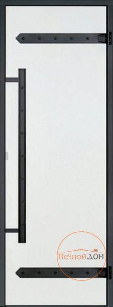 фото HARVIA Дверь стеклянная для бани LEGEND 7/19 черная коробка сосна, сатин