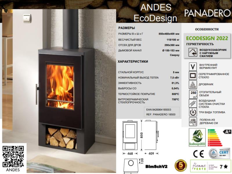 фото Дровяная металлическая печь-камин Panadero Andes