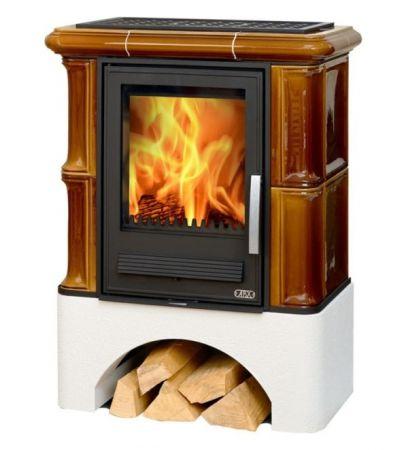 фото Керамическая печь ABX Bavaria K каштан белый цоколь