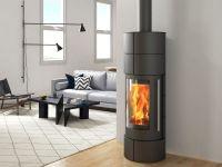 фото Вертикальная металлическая печь-камин Оля 1 G black Ember