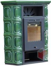 фото Печь-камин BORGHOLM KERAMIK TOP оливково-зеленая