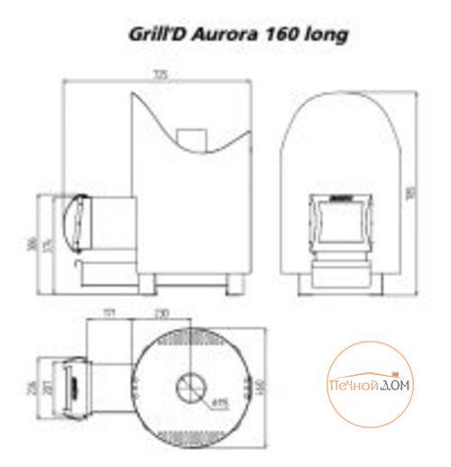 фото Стальная печь для бани Grill'D Aurora 160 long black