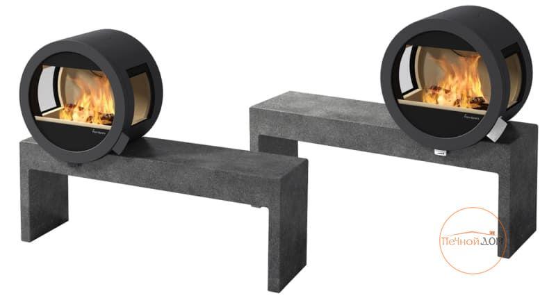 фото Островной камин Nordpeis Me Bench с боковыми стеклами