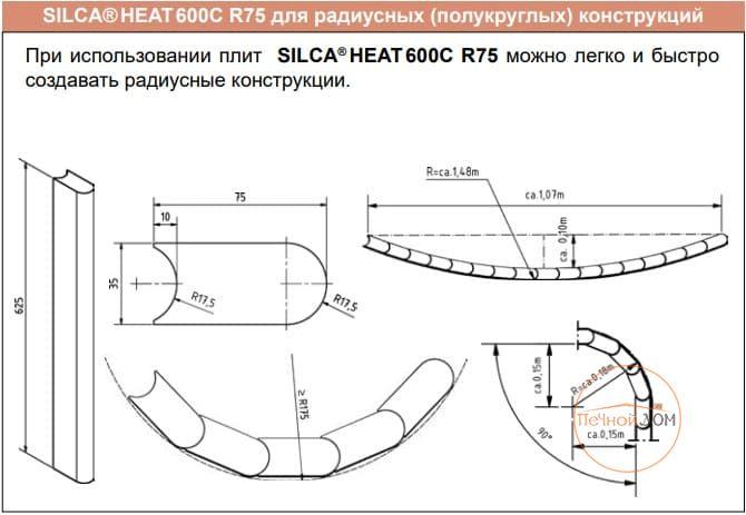 фото Теплонакопительная плита SILCA Heat 600C R75, размер 75х625х35