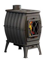 фото Чугунная печь-камин для дачи Бахта черная