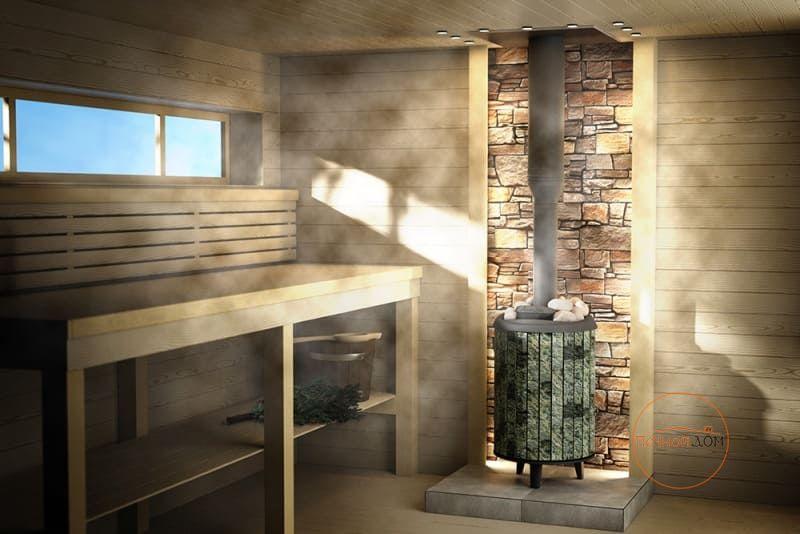 фото Печь для бани Атмосфера Про в ламелях змеевик