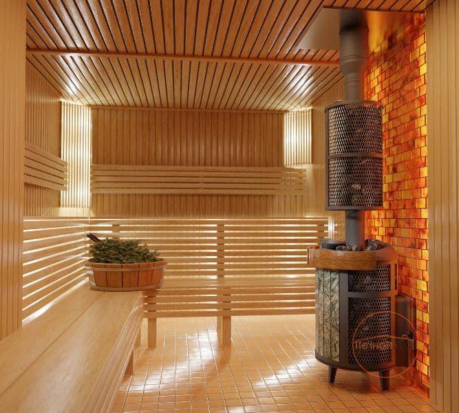 фото Банная печь Прометалл Атмосфера с комбинированной облицовкой