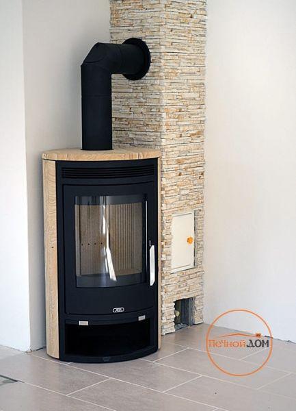 фото Печь-камин ABX Arktis 4 бразильский песчаник черная сталь