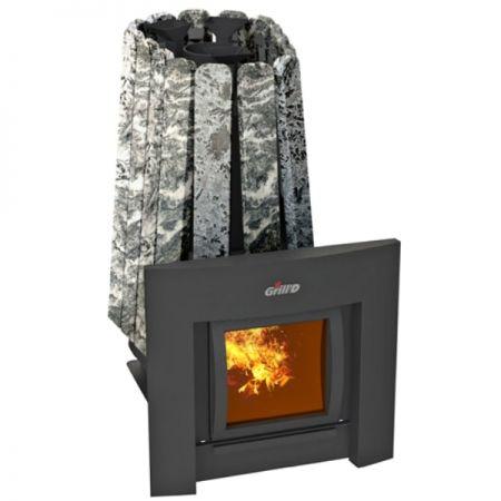 фото Печь для бани с закрытой каменкой Grill'D Cometa 350 Vega Window Max Stone в натуральном камне