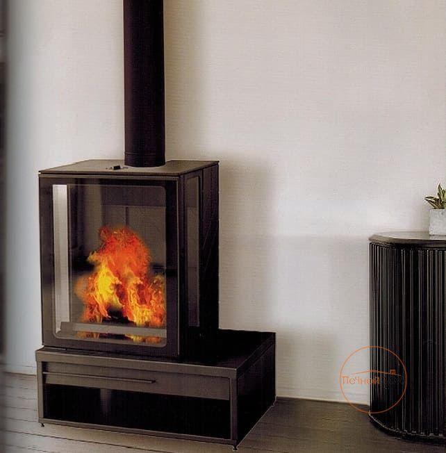 фото Камин Plamen Eco Minimal 35, эмалированный, черный