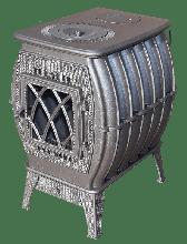 фото Чугунная печь-камин Бахта серая Прометалл