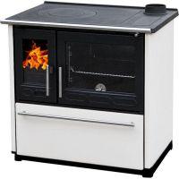 фото Кухонная печь с духовкой Plamen 850 GLAS белая (труба справа)