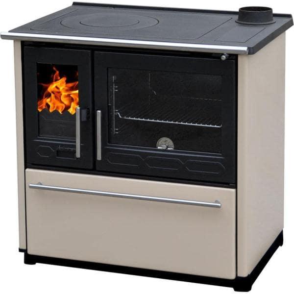 Кухонная печь с духовкой Plamen 850 GLAS кремовая (труба справа)