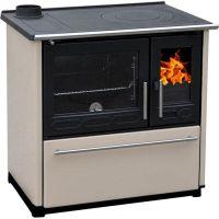 фото Отопительно-варочная печь духовкой Plamen 850 GLAS кремовая