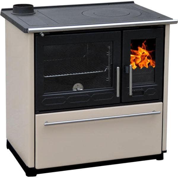 Кухонная печь с плитой и духовкой Plamen 850 GLAS кремовая (труба слева)