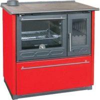фото Отопительно-варочная печь с духовкой Plamen 850 GLAS красная (труба слева)