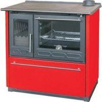 фото Отопительно-варочная печь с духовкой Plamen 850 GLAS красная (труба справа)