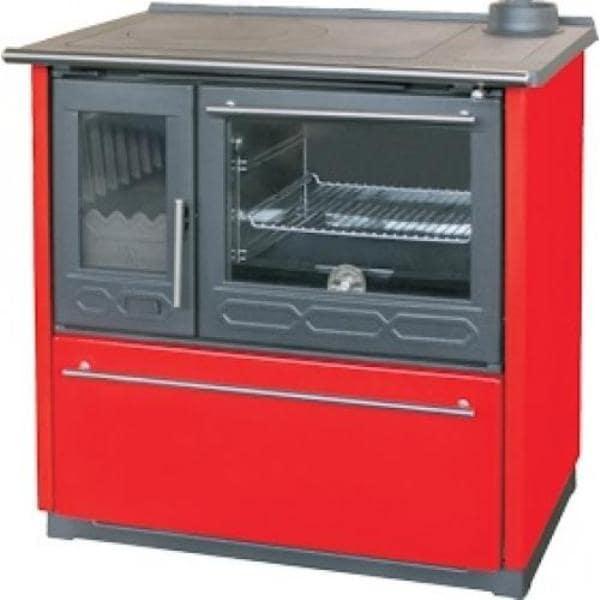Отопительно-варочная печь с духовкой Plamen 850 GLAS красная (труба справа)