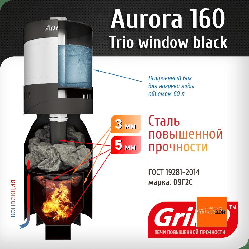 фото Печь для бани с теплообменником Aurora TRIO 160 short black