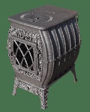 фото Чугунная печь-камин для дачи Бахта металлик