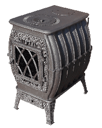 Чугунная печь-камин для дачи Бахта металлик