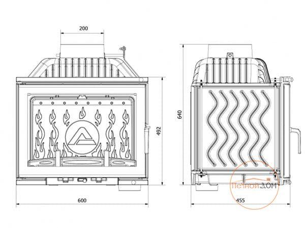 фото Топка каминная Kaw-Met W17 (14кВт) Dekor встроенный шибер